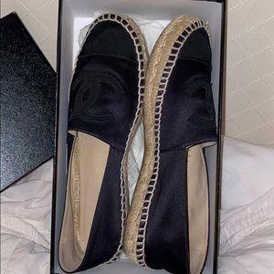 Black satin Chanel espadrilles